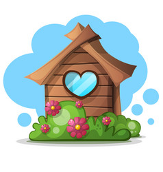 wood cartoon house bush bush and flower icon vector image