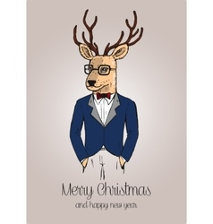 Cartoon hipster reindeer with suit hand drawn vector image