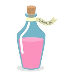 Drink me potion pinc magic elixir in bottle for a vector