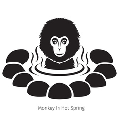 Snow Monkey In Hot Spring Monochrome vector image