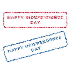 Happy independence day textile stamps vector