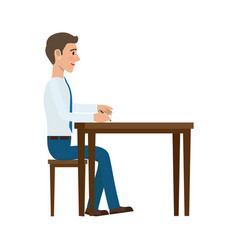 Businessman writing with pen at the table vector