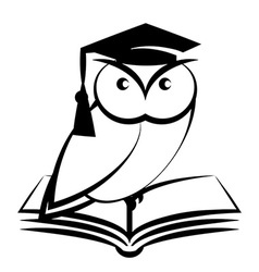 Owl with college hat and book vector