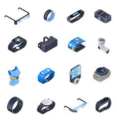 wearable technology isometric icons set vector image