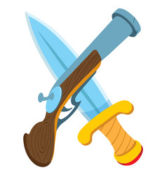 pistol and sword cartoon drawing for gaming vector image