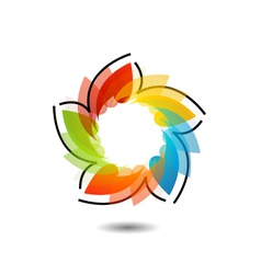 Rainbow colored floral design element or logo vector