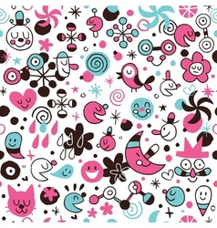 Fun cartoon seamless pattern vector
