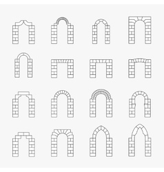 Black icons of arch silhouette vector