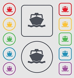 Boat icon sign symbol on the round and square vector