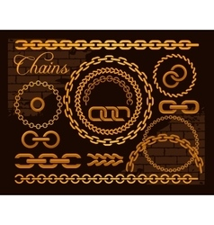 Golden chains on a dark background vector image