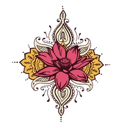Lotus paisley henna design vector