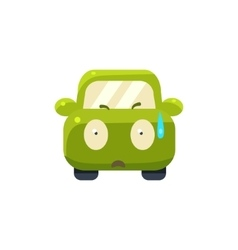 Cold sweat green car emoji vector