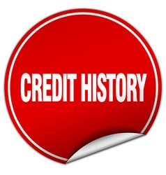 Credit history round red sticker isolated on white vector