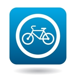 Sign bicycle path icon simple style vector