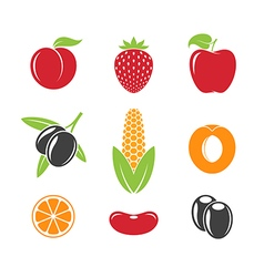 Abstract fruit and vegetables vector image vector image