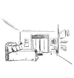 bedroom interior sketch hand drawn furniture vector image vector image