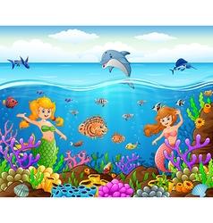Cartoon mermaid under the sea vector