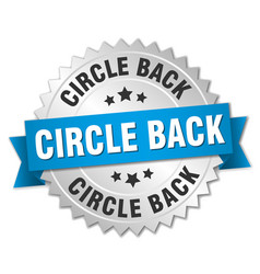 Circle back round isolated silver badge vector