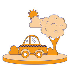 Full color taxi car service in the city with tree vector