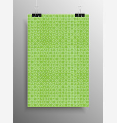 green puzzle pieces - jigsaw - vector image