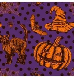 Hand drawn halloween seamless pattern vector image