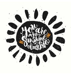 Hand drawn watercolor lettering poster-sun with vector