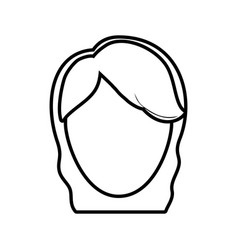 Head female girl line vector