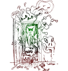 Horror open door vector image