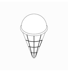 Ice cream in a waffle cup icon isometric 3d style vector