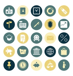 Icons plain round business office vector
