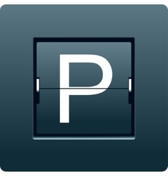 Letter p from mechanical scoreboard vector