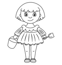 Little girl in dress with bucket and shovel vector