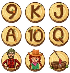 Lumber jacks and numbers on round badges vector