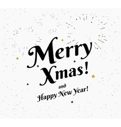 Merry xmas vintage black and white vector image