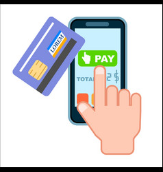 Mobile payment concept with bank card vector