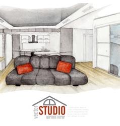 Modern watercolor interior design vector
