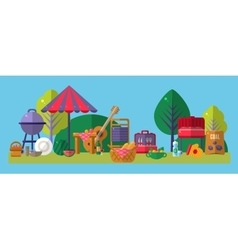 Picnic outside objects collection vector