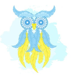 printable fashion of cartoon owl from hand drawn vector image
