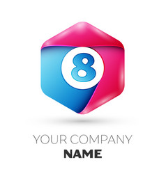 Realistic number eight logo in colorful hexagonal vector