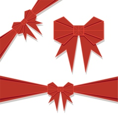 Red origami bow vector image vector image
