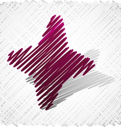 Scribbled magenta four-star vector image