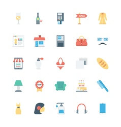 Shopping Flat Colored Icons 4 vector image