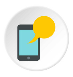 Smartphone with yellow speech bubble icon circle vector