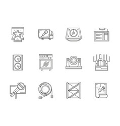 stage equipment flat line icons set vector image vector image