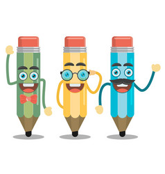 three funny pencil in a flat style vector image vector image