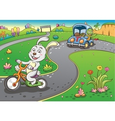 vehicles rabbit turtur background vector image vector image