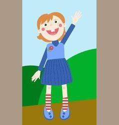 welcoming girl vector image