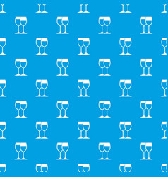 wine glasses pattern seamless blue vector image vector image