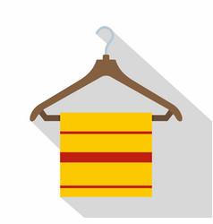 Yellow scarf on wooden coat hanger icon flat style vector