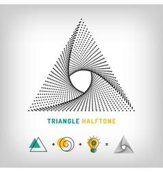 Triangle logo 3d abstract halftone vector